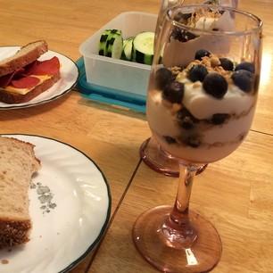 this is how #auntkristinesknittingschool starts - sandwiches and fancy yogurt parfaits!