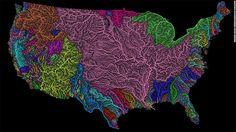 Digital cartographer Robert Szucs turns maps of rivers into rainbow-colored pieces of art.