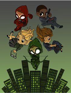 Arrow S03. Green Arrow (Oliver Queen), Felicity, Arsenal (Roy Harper), Diggs, and Laurel (Black Canary).