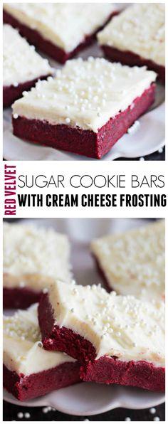 Red Velvet Sugar Cookie Bars via @javajennie